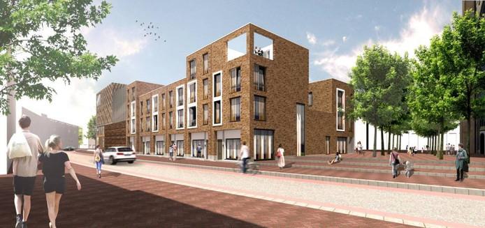 Impressie van filmhuis en woningen op het Kerkplein in Arnhem.