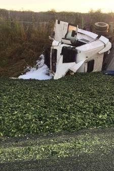 A58 dicht na kantelen truck met augurken