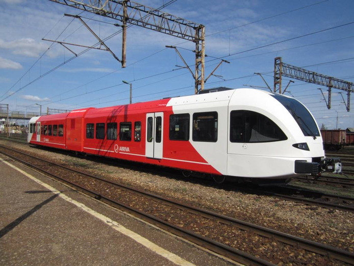 De trein van Arriva uit de Stadlerfabriek in het Zwitserse Erlen. Foto DG