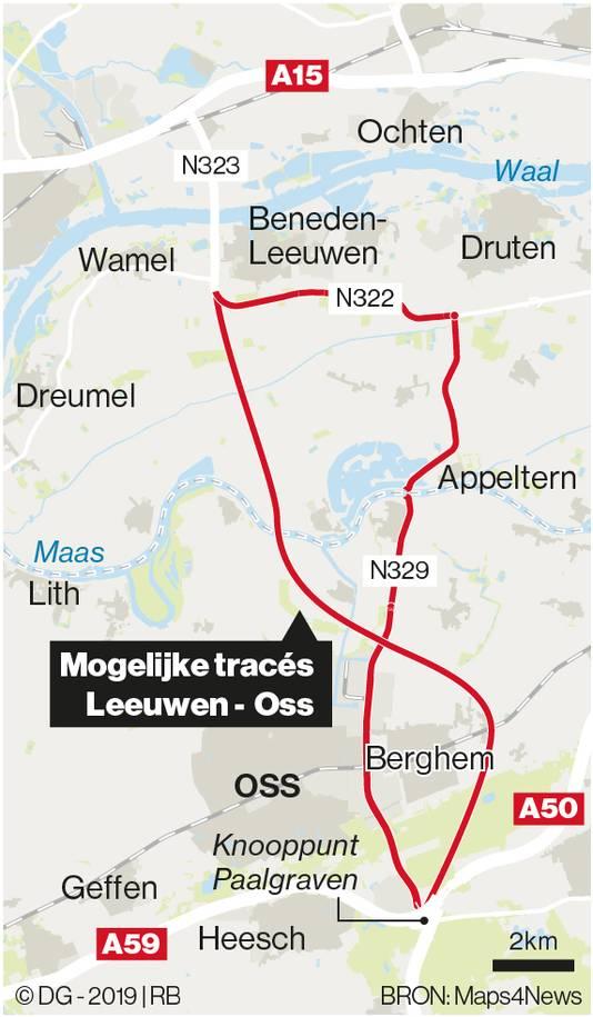 Potentiële tracés, twee stuks in zowel Maas en Waal als Brabant.