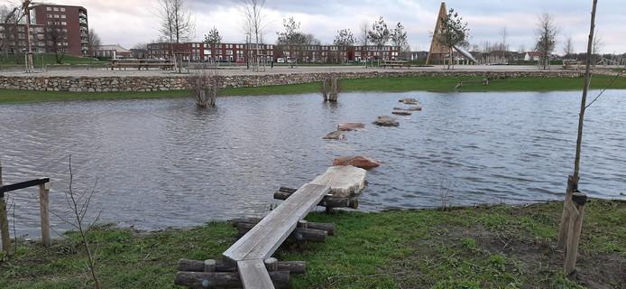 In de route via de stapstenen liggen een paar stenen zo laag dat ze onder water zijn verdwenen.