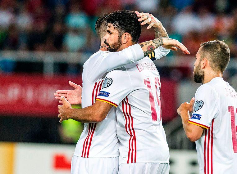 Diego Costa tijdens de WK-kwalificatiematch van Spanje in Macedonië.