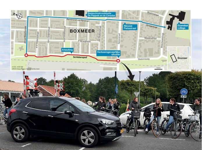 Drukte bij de kruising Schilderspad - Spoorstraat in Boxmeer. Boven: de blauwe route is de fietsstraat die in plaats van het Schilderspad als fietsroute moet gaan gelden.