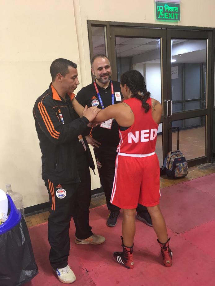 Jemyma Betrian na de tweede ronde van het WK boksen in New Delhi.
