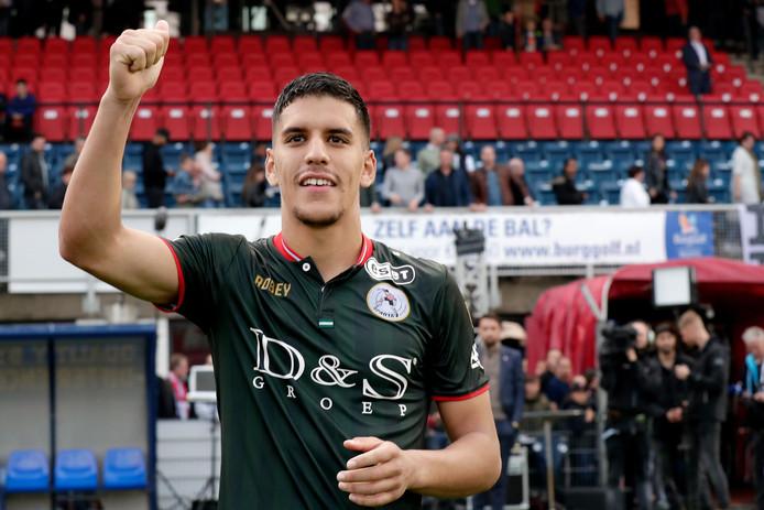 Abdou Harroui van Sparta na het eerste duel met TOP Oss, waarin hij tweemaal scoorde.