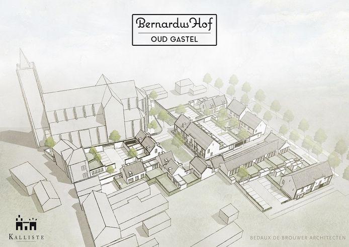 Schetsontwerp voor de nieuwe wijk Bernardushof in Oud Gastel.