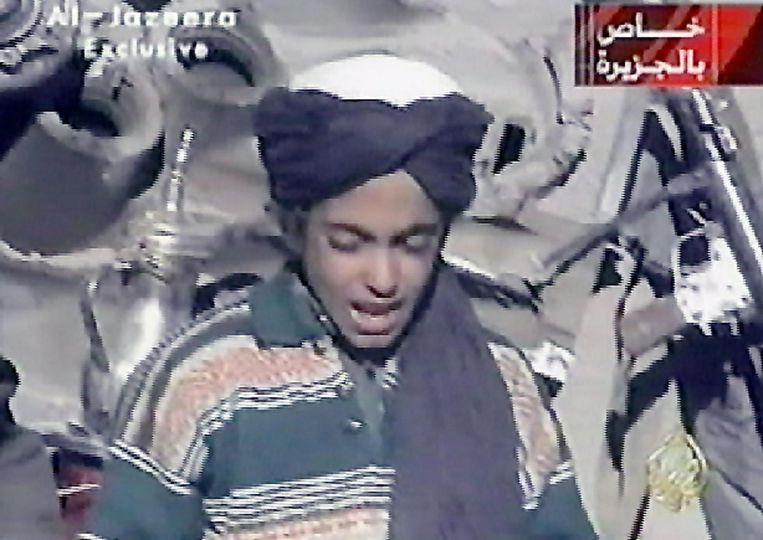 Hamza Bin Laden op een foto uit 2001. De terrorist staat op de most wanted-lijst van de Verenigde Staten.