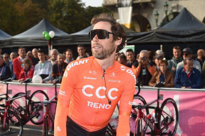 Ten Dam vlak voor de start van de Ronde van Lombardije 2019: zijn laatste profkoers.