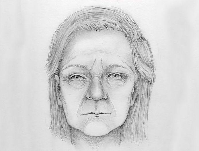 Een tekening van de onbekende vrouw zoals ze er voor haar dood uit zou kunnen hebben gezien.