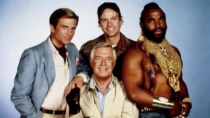 """L'""""Agence tous risques"""" au grand complet : Dirk Benedict, Dwight Schultz, Mister T et George Peppard."""