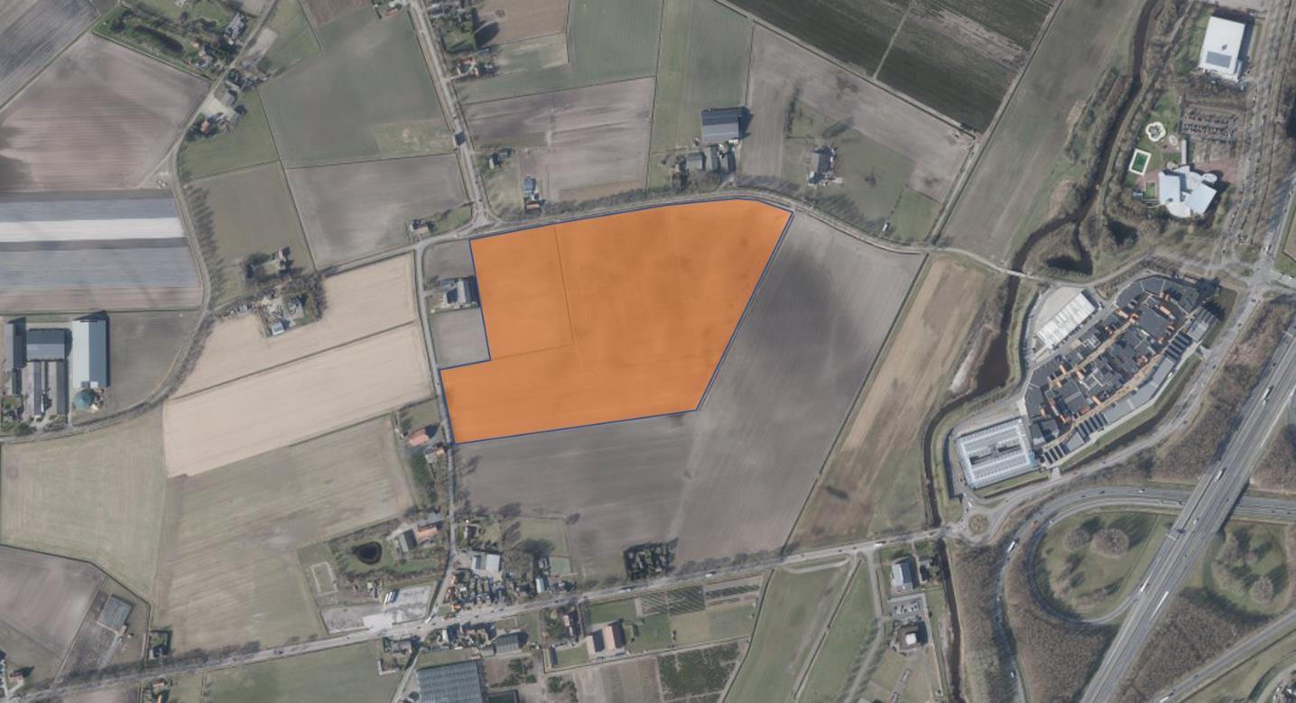 De locatie van zonnepark Vroenhout, rechts is Rosada te zien.