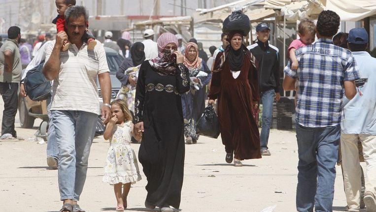 Syrische vluchtelingen in het vluchtelingenkamp in Mafraq, Jordanië Beeld epa