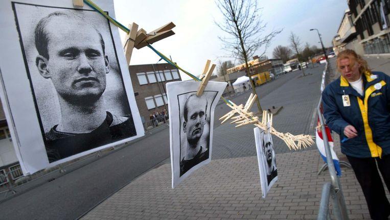 Portretten van Volkert van der G. voor de rechtbank in Amsterdam. Beeld ANP