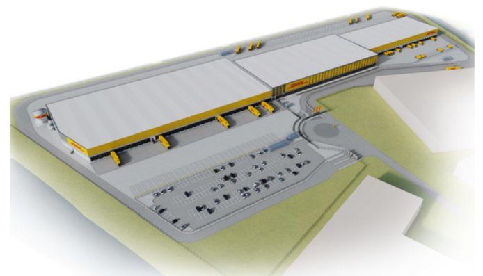 Het nieuwe sorteercentrum van pakketbezorger DHL op bedrijventerrein De Wildeman in Zaltbommel.