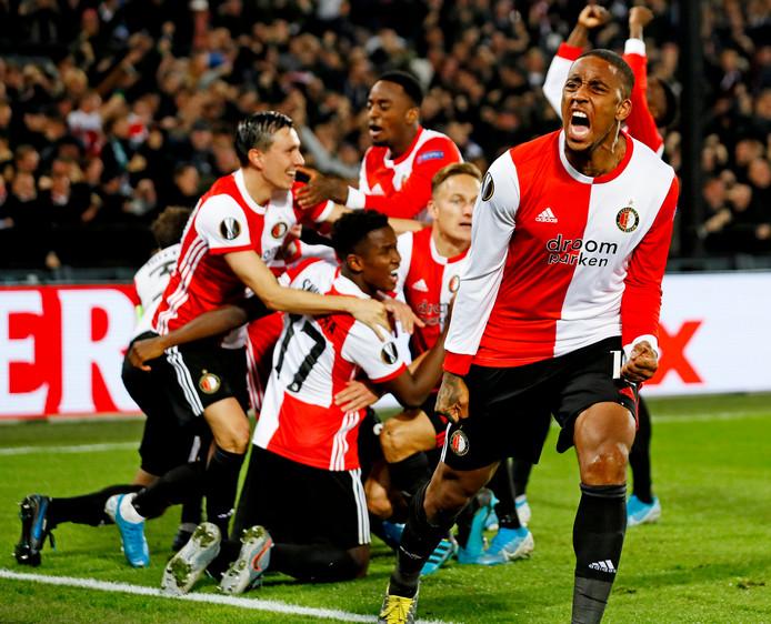 Vreugde bij de spelers van Feyenoord bij de 2-0 overwinning op FC Porto eerder dit seizoen.