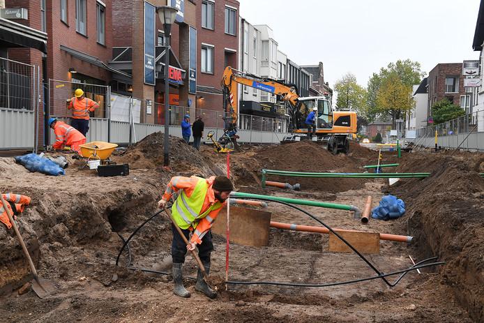 Archeologische opgravingen in de Grotestraat in Cuijk, oktober 2017.