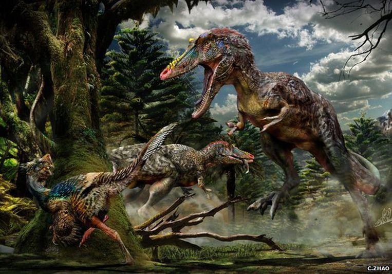 Een artist's impressie van de Qianzhousaurus sinensis, ook wel de Pinocchio Rex.
