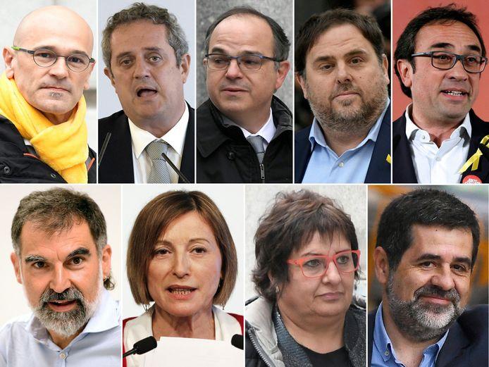 Deze negen politici stonden terecht tijdens het proces: bovenaan vlnr. voormalig minister van Buitenlandse Zaken Raul Romeva, Joaquim Forn, Jordi Turull, voormalige vicepremier Oriol Junqueras, Josep Rull, onderaan voorzitter van de ngo Òmnium Cultural Jordi Cuixart, ex-parlementsvoorzitter Carme Forcadell, Dolors Bassa en voormalig voorzitter van de drukkingsgroep Catalaanse Nationale Assemblee Jordi Sanchez.