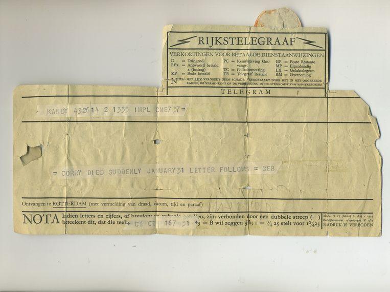 Het overlijdenstelegram. Beeld
