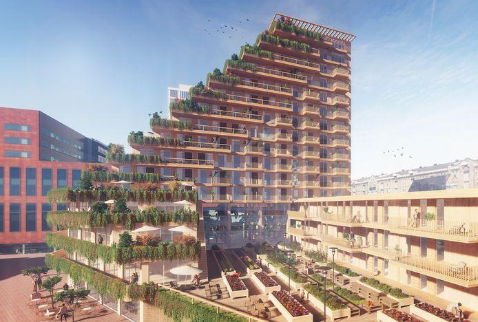Een impressie van 'Sawa', een houten woongebouw dat is bedacht voor de Rotterdamse wijk Lloydkwartier.