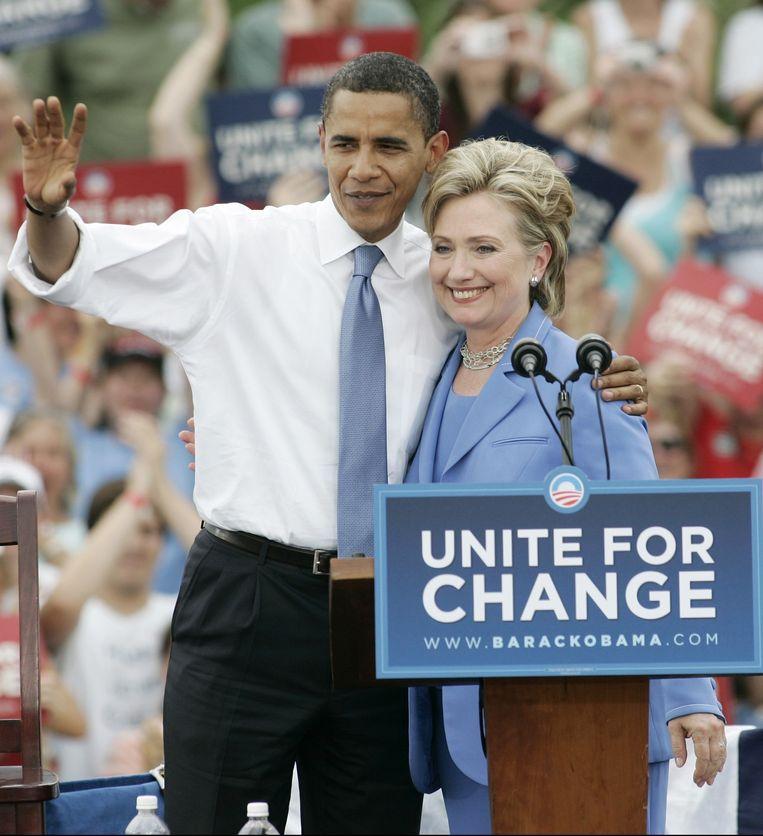 Obama en Hillary Clinton in 2008.