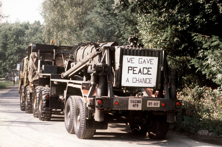 Onderdelen van de Pershing II-raket gaan in 1988 vanuit Duitsland terug naar de VS volgens het INF-verdrag van een jaar eerder. Beeld Hollandse Hoogte / dpa Picture-Alliance GmbH