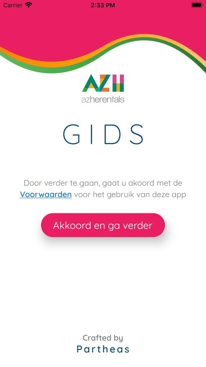 Zo ziet het startscherm van de nieuwe app van het AZ Herentals eruit.