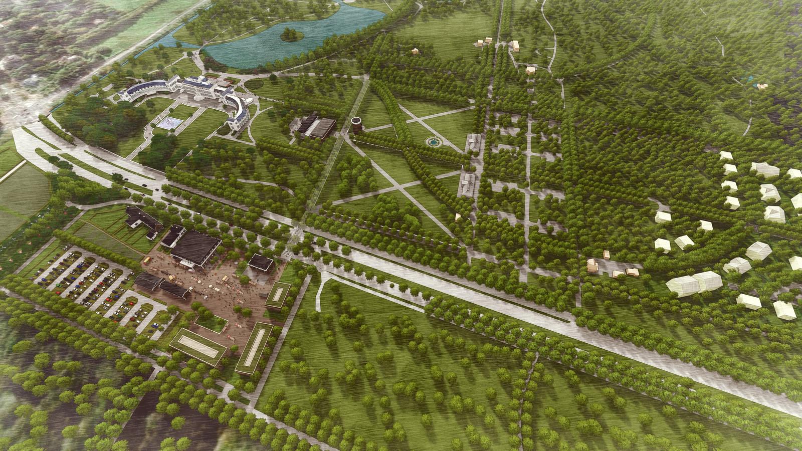 Impressie van de plannen die het consortium Made by Holland heeft met Paleis Soestdijk, de tuinen en de Parade (linksonder). Rechts het Alexanderkwartier, een woonwijk op en rond het marechausseeterrein waar 98 woningen komen. Op de Parade zijn een hotel en een parkeerterrein gepland.