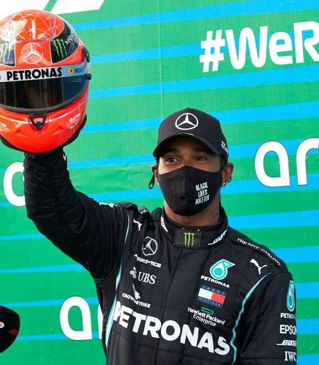 Hamilton nu naast idool Schumacher: 'Ik dacht niet eens aan de records van Michael'
