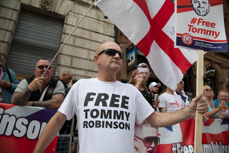 Demonstratie voor de vrijlating van Tommy Robinson in Londen. Beeld In Pictures via Getty Images