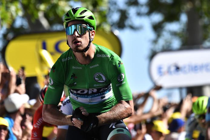 Peter Sagan verstevigt zijn leiding in het puntenklassement met ritwinst in Colmar en viert het als vanouds met zijn Hulk-imitatie.