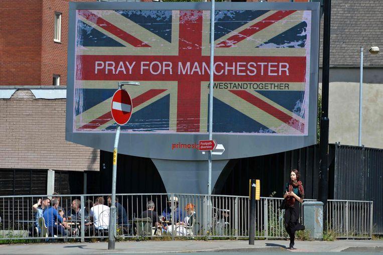 Dit bord staat vlakbij de Manchester Arena. Beeld anp
