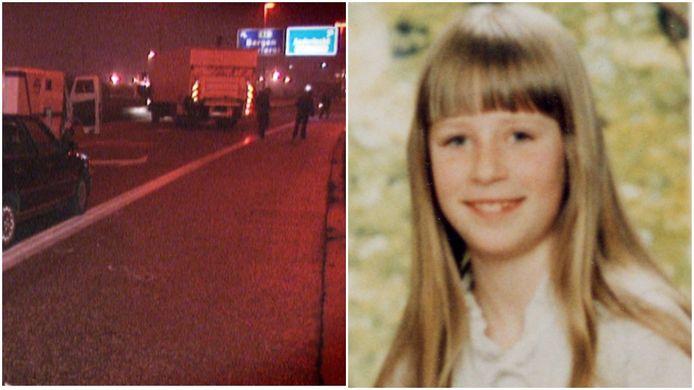 Links een beeld kort na de drieste overval op de geldtransporten op de oprit van de Brusselse Ring. Rechts slachtoffer Melissa Mairesse toen ze tien jaar was.