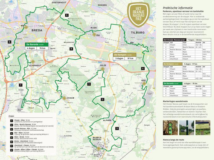 Het Oranje-Nassaupad van 135 kilometer is een wandelroute in zeven dagen voor de sportieve wandelaar. Een initiatief van Toerisme de Baronie om toeristen langer aan de regio te binden.