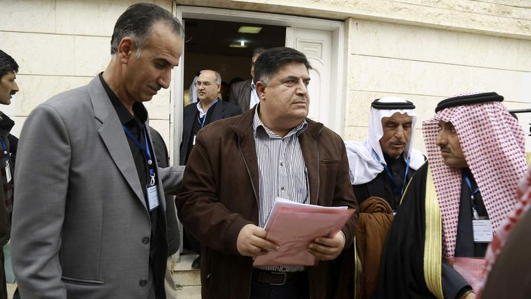 Amer al-Halloush, lid van de Syrische Democratische Raad, maakt bekend dat de Koerden een eigen deelstaat uitroepen. Beeld afp
