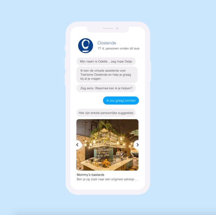 Via de geautomatiseerde chatbox kan Toerisme Oostende bezoekers aan de stad 24 uur per dag helpen.