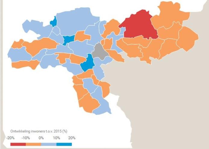 Kaart met de procentuele bevolkinsgdaling in het Gelderlander-gebied in 2030.