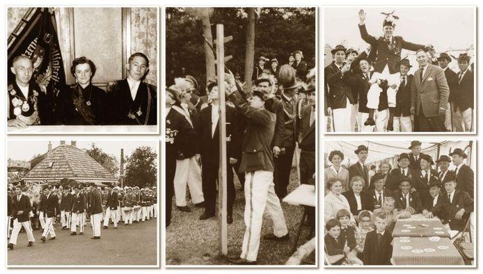 Collage historische foto's schutterij Ootmarsum.