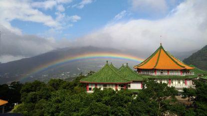 8 uur en 58 minuten lang was deze regenboog te zien, een record