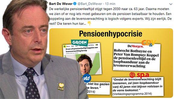 Bart De Wever verklaarde gisteren in Terzake dat de pensioenleeftijd op termijn nog zal moeten verhogen.