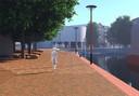 De nieuwe kade langs de havenkom, ter hoogte van het huidige Huis van Katoen en Nu.