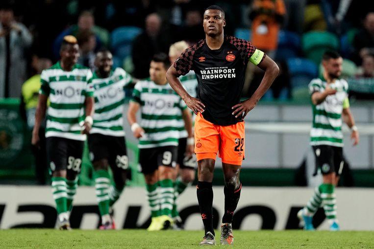 Denzel Dumfries tijdens de wedstrijd tegen Sporting Lissabon. Beeld BSR Agency