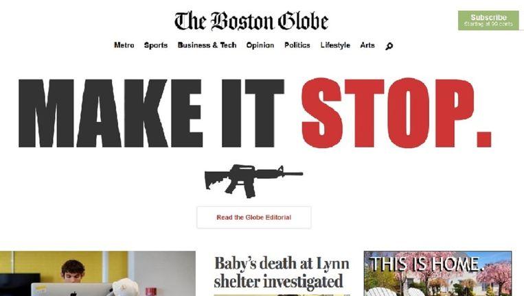 Een screenshot van de website van The Boston Globe, met een link naar het commentaar van de krant. Beeld Boston Globe screenshot