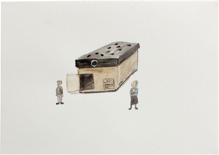 Een huis als een schoenendoos, getekend door Tomoko Kawachi. Beeld