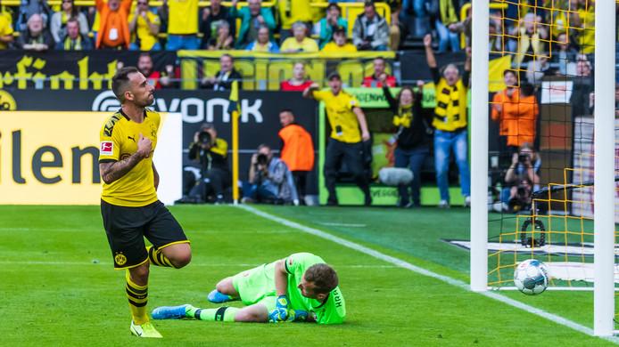 Paco Alcácer legt er bij Dortmund de één na de ander in, zoals zaterdag de 1-0 tegen Bayer Leverkusen.