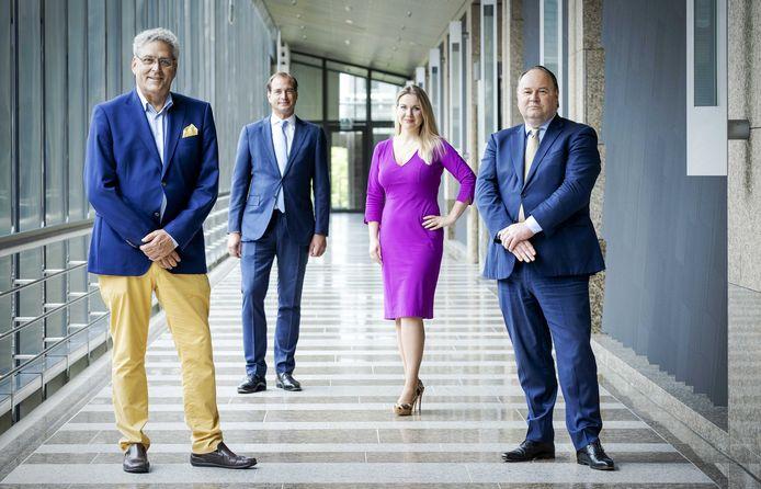 Henk Krol, Jeroen de Vries, Femke Merel van Kooten en Henk Otten, vastgelegd op 29 juni.