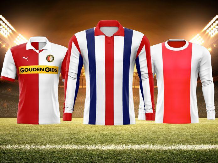 Top drie van het eredivisie shirt festival. vlnr: 2. Feyenoord 83/84, 1. Willem II 59/60, 3. Ajax 69/72