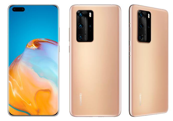 Huawei P40 Pro in Blush Gold-uitvoering.