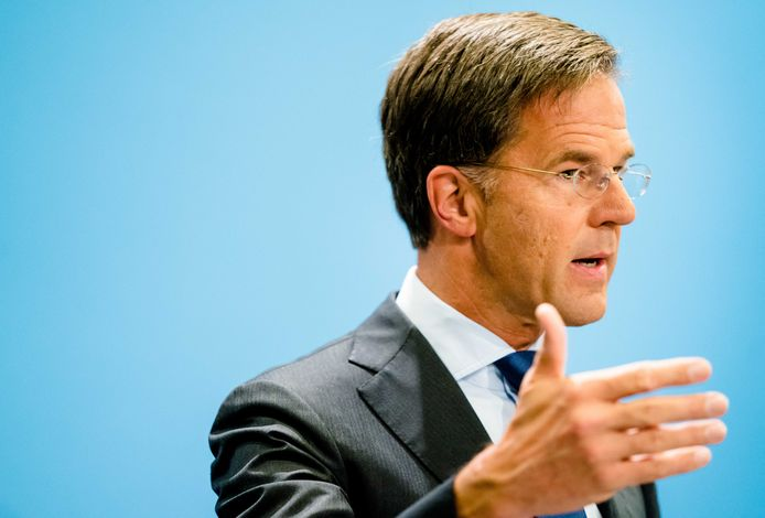 Minister-president Mark Rutte tijdens de persconferentie na afloop van de wekelijkse ministerraad.