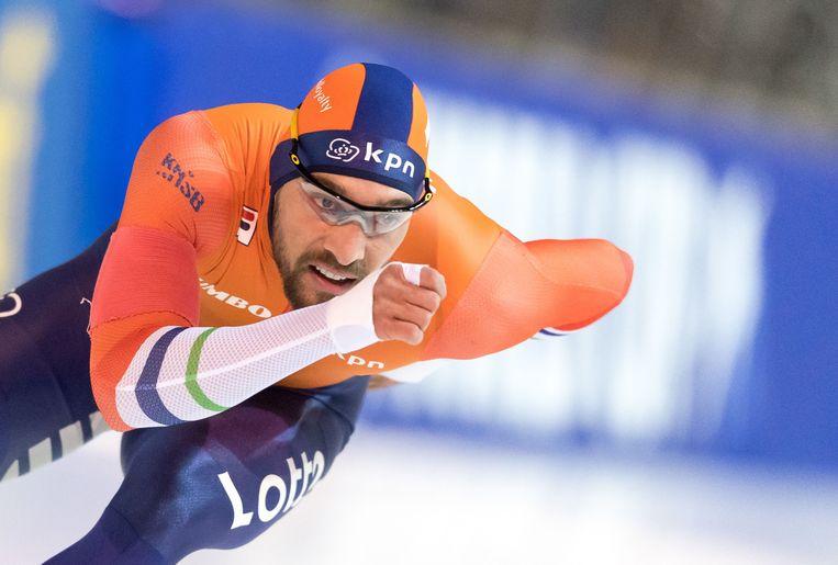 Kjeld Nuis won in Erfurt op de duizend meter.  Beeld AFP